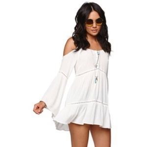 Kendall & Kylie white boho cold shoulder tunic